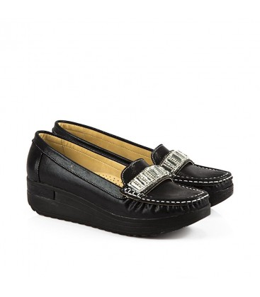 Punto Siyah Simli Kadın Casual Ayakkabı 634051