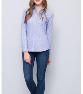 U.S. Polo Assn. Mavi Baskılı Slim Uzun Kol Gömlek G082GL004.ZEGNA.503686.VR036