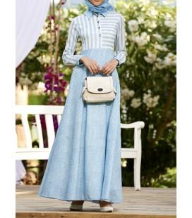 Keten Doku Simetrik Elbise - Mavi - Nilüfer Kamacıoğlu 212749
