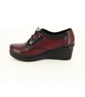 City Life Kadın Bordo Deri Oxford Ayakkabı 4128560214300