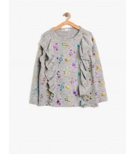 Koton Kız Çocuk Fırfırlı Sweatshirt  8KKG17024AK023