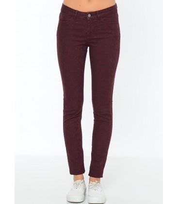 Lee Cooper Kadın Pantolon | Amy - Skinny 171 LCF 221004 Bordo
