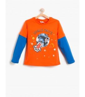 Koton Uzun Kollu, Baskılı T-Shirt  8KKB18047ZK420