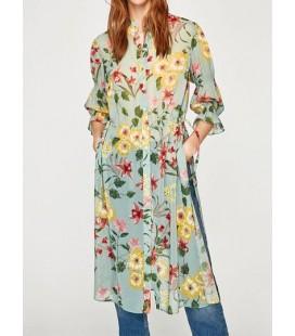 Zara Uzun Baskılı Bayan Gömlek 7818 119