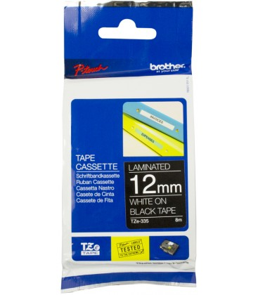 Brother-to-the-335 12Mm white on Black labelling tape