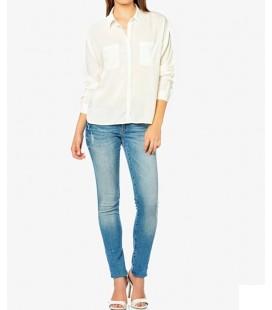 Mavi Cepli Kırık Beyaz Gömlek  120557-20086