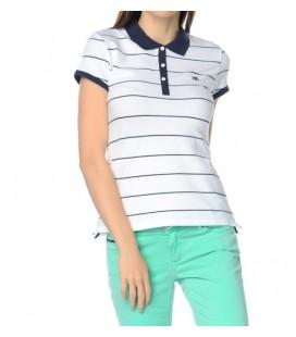 Mavi Polo Yaka Çizgili Kırık Beyaz Tişört  164736-20086