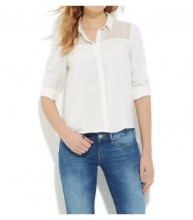 Mavi Viskoz Kırık Beyaz Gömlek 120361-20086