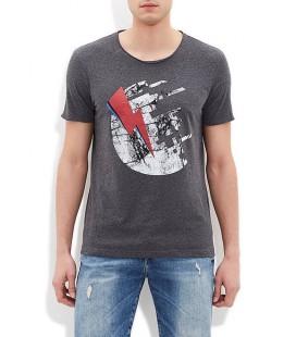 Mavi Baskılı Erkek Tişört 064327-22961 Sımsek Baskılı Tişört Koyu
