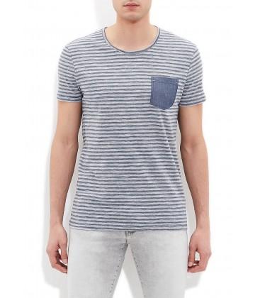 Blue Navy Blue Striped Tshirt Men's T-Shirt, Slim Fit, 063655-23077