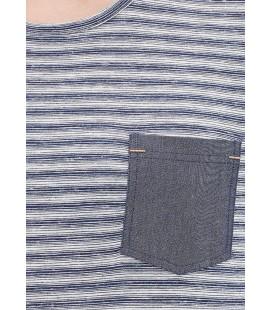 Mavi Erkek Tshirt Çizgili Lacivert Tişört Dar Kesim, 063655-23077