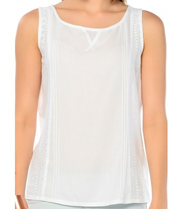 Mavi Beyaz Bluz 120682-620 Dantel Detaylı Bluz Beyaz