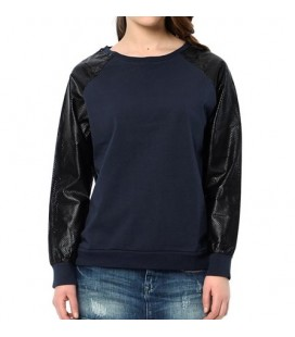 Blue Leather Detail Sweatshirt Women's Sweatshirts 164436-18822