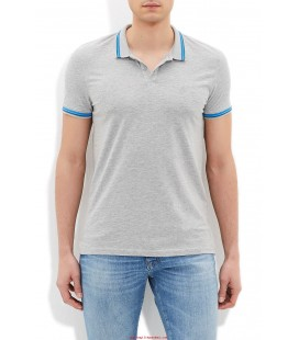 Blue 064056-22958 A Polo Shirt Polo T-Shirt Grey Melange