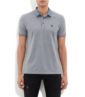Blue Men's T-Shirt Grey Polo T-Shirt, Slim Fit, 064559-23077