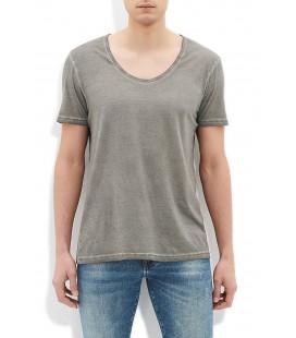 Men's Khaki Blue Basic T-Shirt Slim Fit, 064487-24406