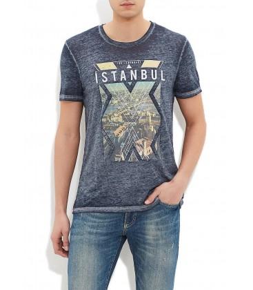 Blue Men's T-Shirt Dark Grey Shirt 063912-23038 Istanbul
