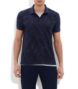 Mavi Baskılı Mavi Polo Tişört Dar Kesim 064218-23127