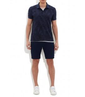 Printed Blue Slim Fit Polo Shirt Blue 064218-23127