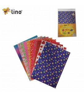 Lino Desenli Elişi Kağıdı 10 Renk 23x33 cm 2702J 2