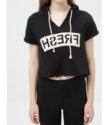 Koton Kadın Kapüşonlu T-Shirt 6KAL11869OK999