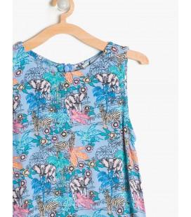 Koton Çiçekli Kız Çocuk Elbise 7YKG87371AW51E