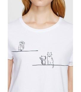 Mavi Baskılı Beyaz Kadın Tişört 166745-620