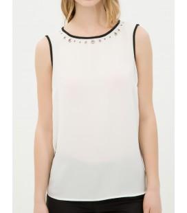 Cotton Sleeveless plain white Blouse 6YAK32296CW001