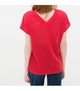 Women's cotton V-neck red T-Shirt 6YAK13843QK401