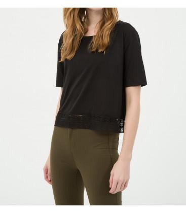 Koton Dantel Detaylı T-Shirt 6YAL11108JK999
