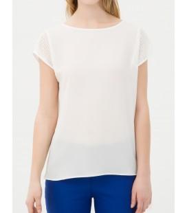 Cotton, Short Sleeve Hollow Collar Blouse Plain 6YAK62044CW001