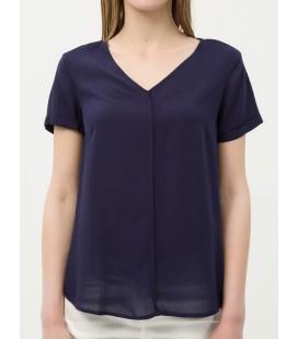 Women's cotton V-neck, Short Sleeve, Plain Blouse 6YAK62128CW720