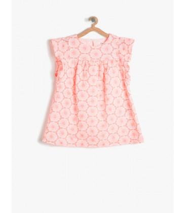 Koton Pembe Kız Çocuk Çiçekli Elbise 7YKG87532GW909
