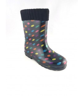 Kids Rain Boots Black Spotted 171740