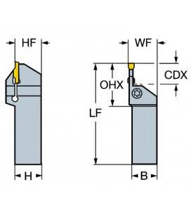 Sandvik Coromant LF123G10-3225B Çelik CoroCut 1-2 Kesme ve Kanal Açma Tutacağı