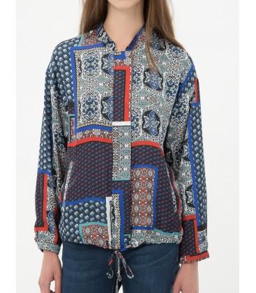 Koton Kadın Desenli Ceket Uzun Kollu, 7KAK53621EWB51