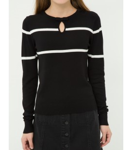 Cotton women's long sleeve Sweater, Striped Sweater 7KAL97687OT04S