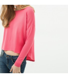 Cotton scoop-neck, long sleeve, relaxed fit, straight 6YAL96612JT303 Sweater