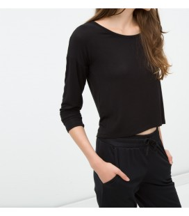 Cotton Boat Neckline, relaxed fit, Long Sleeve T-Shirt 6YAL11815OK999
