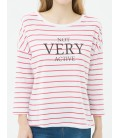 Cotton scoop-neck, long sleeve, relaxed fit, striped T-Shirt 6YAL11362JK95S
