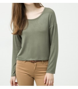 Cotton scoop-neck, long sleeve, slim fit, detailed shoulder T-Shirt 6YAL11815OK822