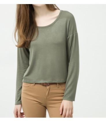 Cotton scoop-neck, long sleeve, slim fit, detailed shoulder T-Shirt 6YAL11815OK822
