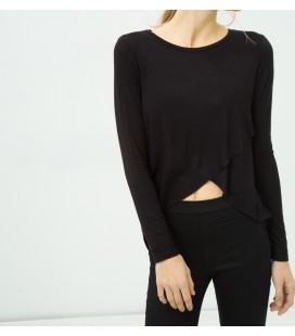 Cotton scoop-neck, long sleeves, plain T-shirts 6YAL11710OK999
