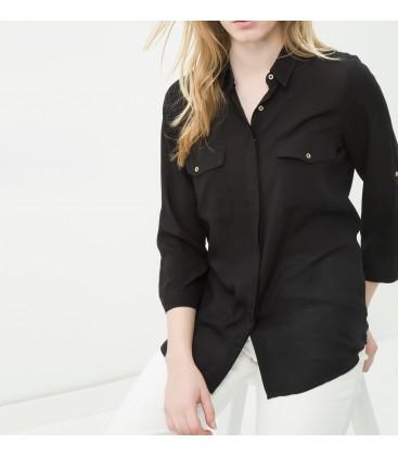 Cotton, smooth cut,Pocket Detail Shirt 6YAK63890EW999