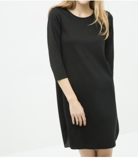 Cotton scoop-neck, long sleeve, relaxed fit, straight Dress 6YAL81075JK999