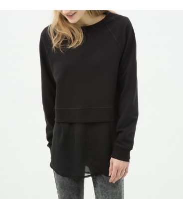 Cotton scoop-neck, long sleeve, relaxed fit, plain Sweatshirts 6YAL11536OK999