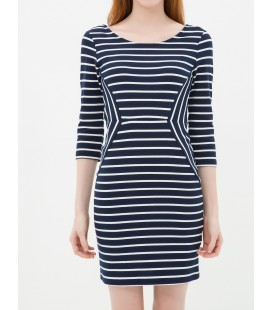 Hollow collar stripe cotton women's Dress 6YAK82815YKZ94