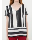 Women's striped cotton Short Sleeve Blouse 7KAK62268UW58M