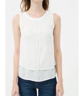 Stitching Detail women's cotton Sleeveless Blouse 7KAK32240UW001