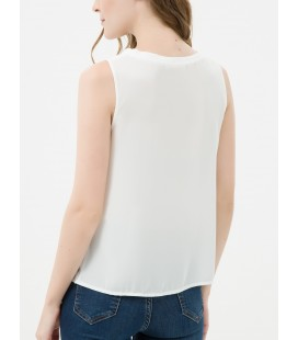 Koton Kadın Biye Detaylı, Kolsuz Bluz 7KAK32240UW001